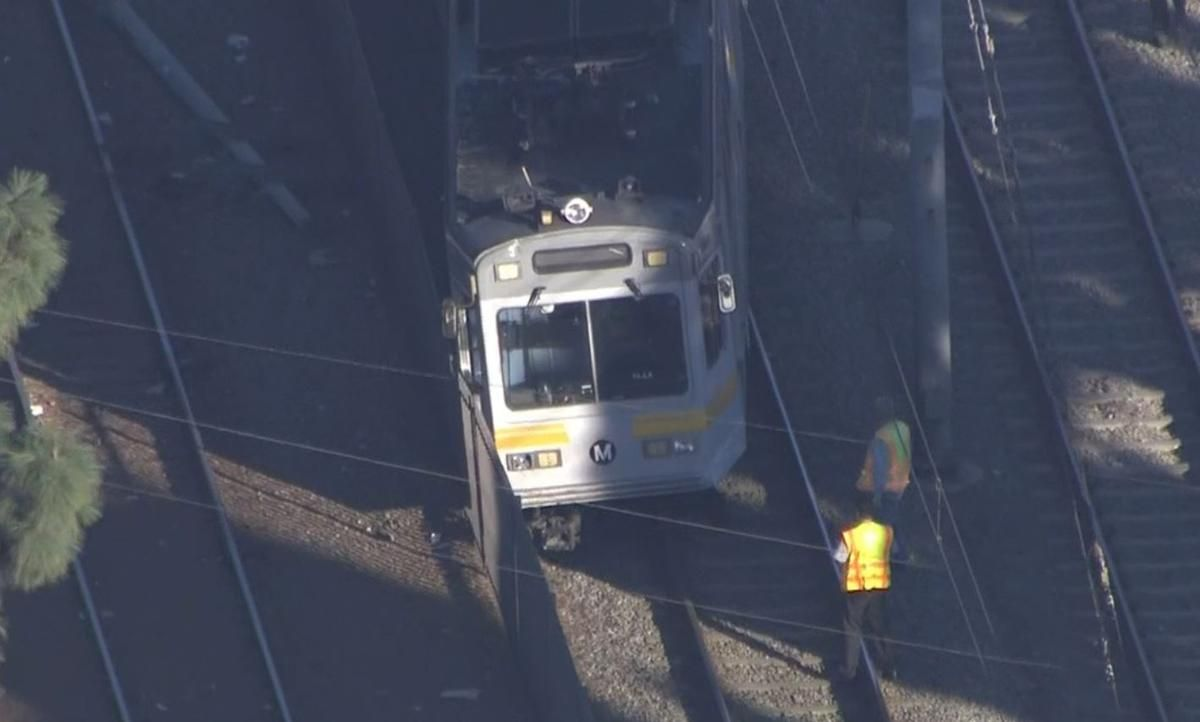 Metro Train Derails After Colliding with Car in Compton