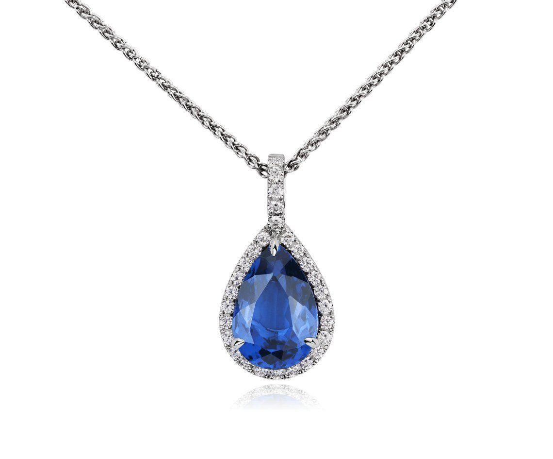 Pear Shape Tanzanite and Diamond Pendant in 18k White Gold #BlueNile