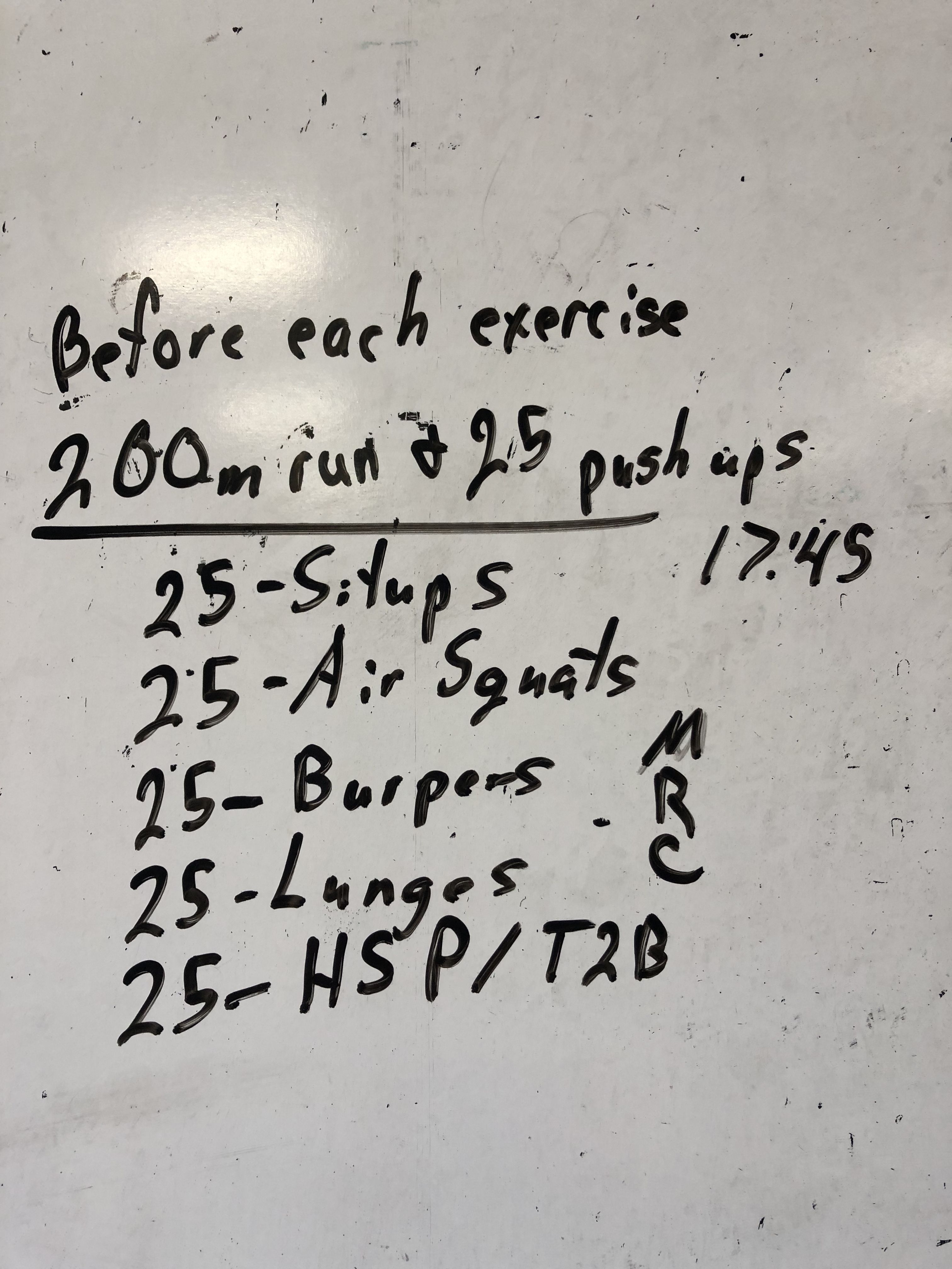Body weight movement day 1000 meter run and 125 pushups total broke up before each different exercise