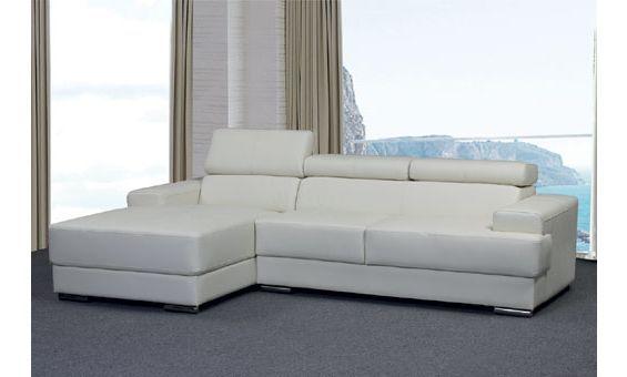 Sofá chaise longue a la izquierda reclinable en piel ...