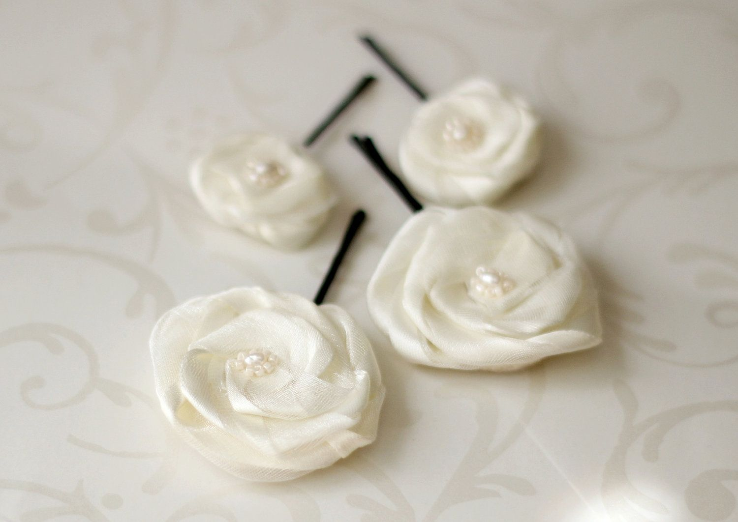Flower Hair Pins - Ivory or White Bridal Accessory - Set of 4 - Bridesmaids Gift