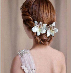 Storczyk Orchidea Kwiat We Wlosy Spinka Slub Bialy 6118804719 Oficjalne Archiwum Allegro Braided Hairstyles For Wedding Medium Hair Styles Wedding Hair Inspiration