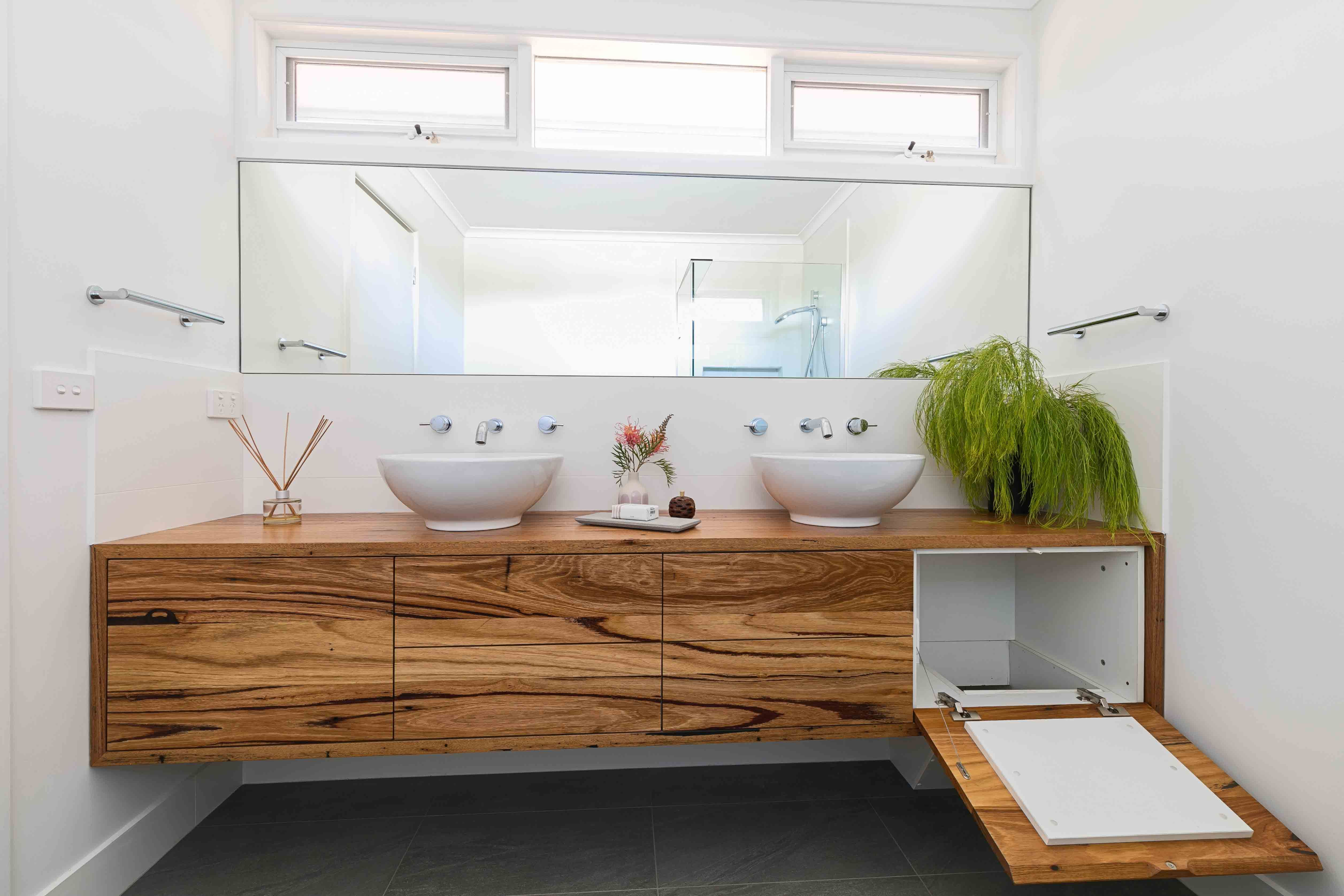 Recycled Messmate Blend Timber Floating Double Vanity With Built In Laundry Shoot Supplied To Client Renovatio Laundry In Bathroom Laundry Shoot Laundry Chute