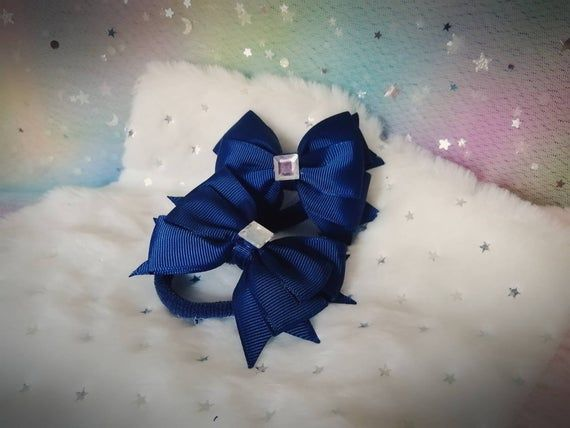 Navy and white hair bands bows for girls