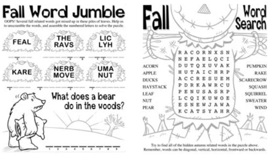 fall printable educational worksheets word jumble
