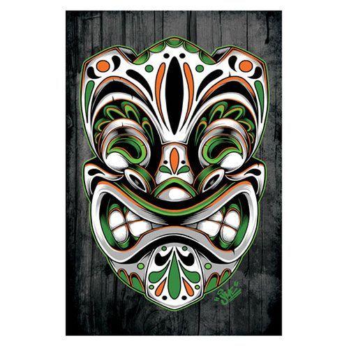 Day of the Dead Tiki Orange & Green by Jime Litwalk Tattoo Fine Art Print