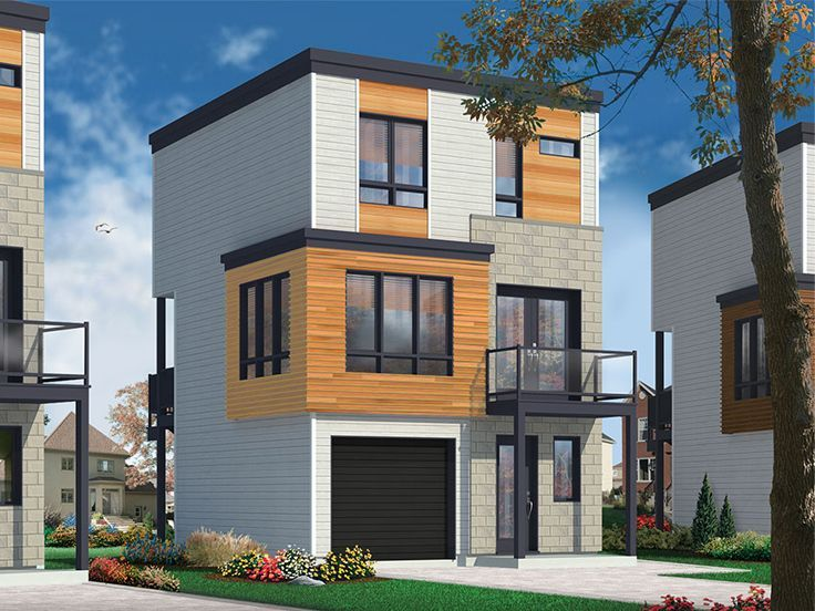 027H 0402 Modern 3 Story House Plan Fits a Narrow Lot