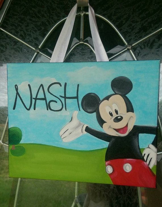 Hand Painted Mickey Mouse Personalized 8x10 by ...