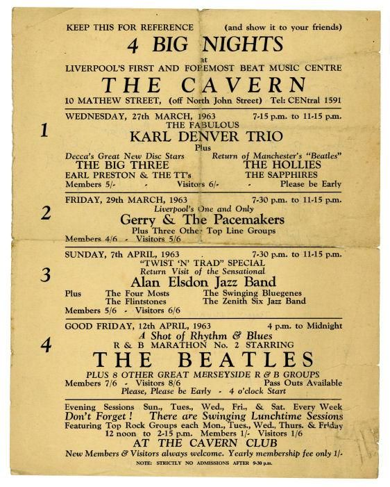 The Beatles 1963 Cavern Club Handbill