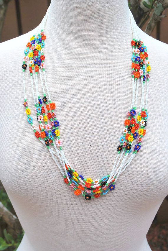 Vintage White Multicolor bugle bead seed bead hand made beaded necklace Hippie Boho Chic Groovy #beads