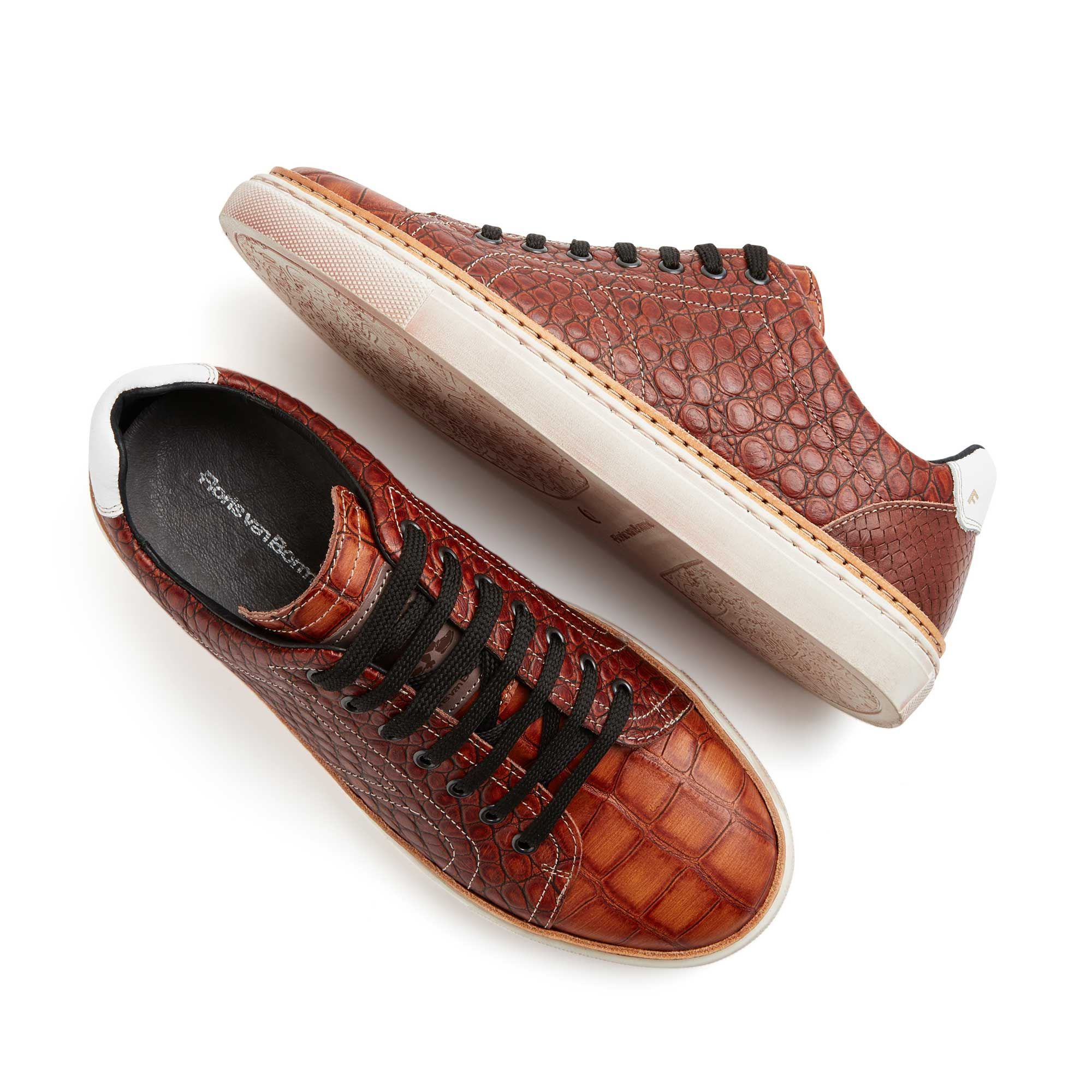 14356 09 Floris Van Bommel Cognac Men S Sneaker With Crocodile Print