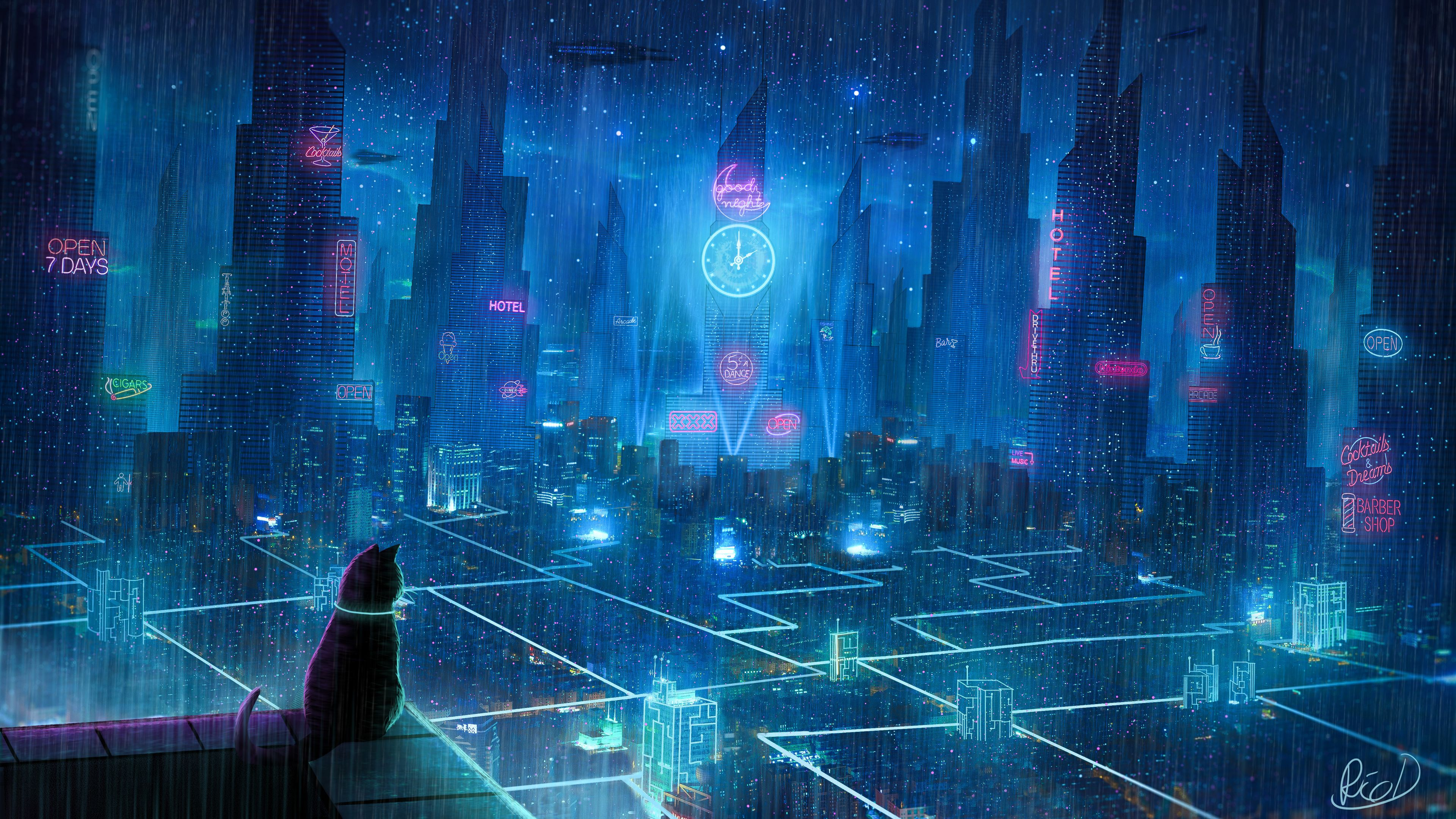 Cat Rain Dream Cyberpunk City 4k Rain Wallpapers Hd Wallpapers Digital Art Wallpapers Deviantart Wallpapers C Cyberpunk City Rain Wallpapers City Wallpaper