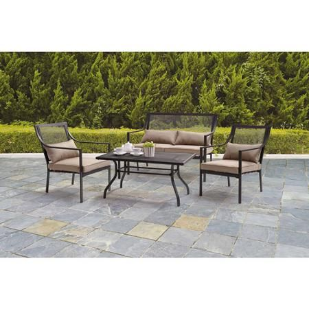 Mainstays Bellingham 4 Piece Patio Conversation Set, Seats 4