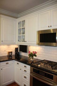 Traditional Kitchen W White Cabinets White Subway Tile Black