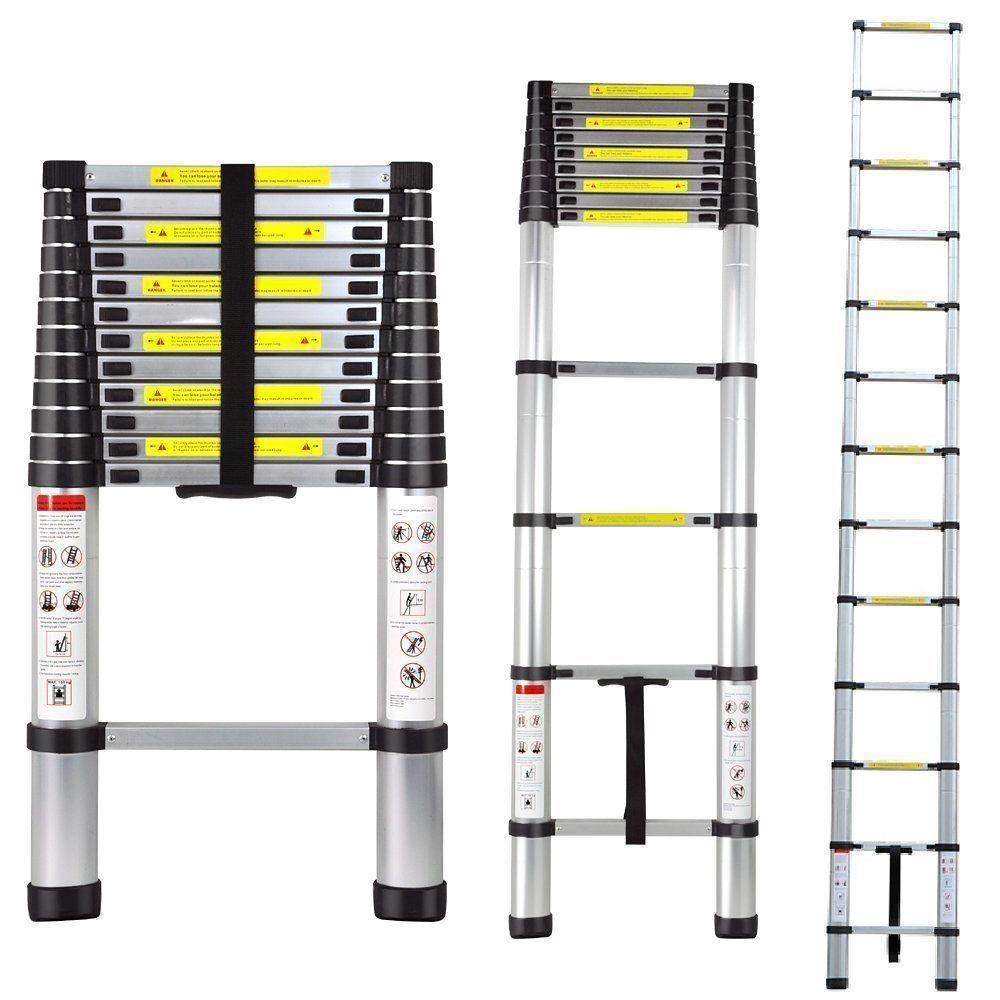 Aluminum Telescopic Ladder 12 5 Telescoping Loft Extension Extendable Portable Generic Telescopic Ladder Ladder Multi Purpose Ladder