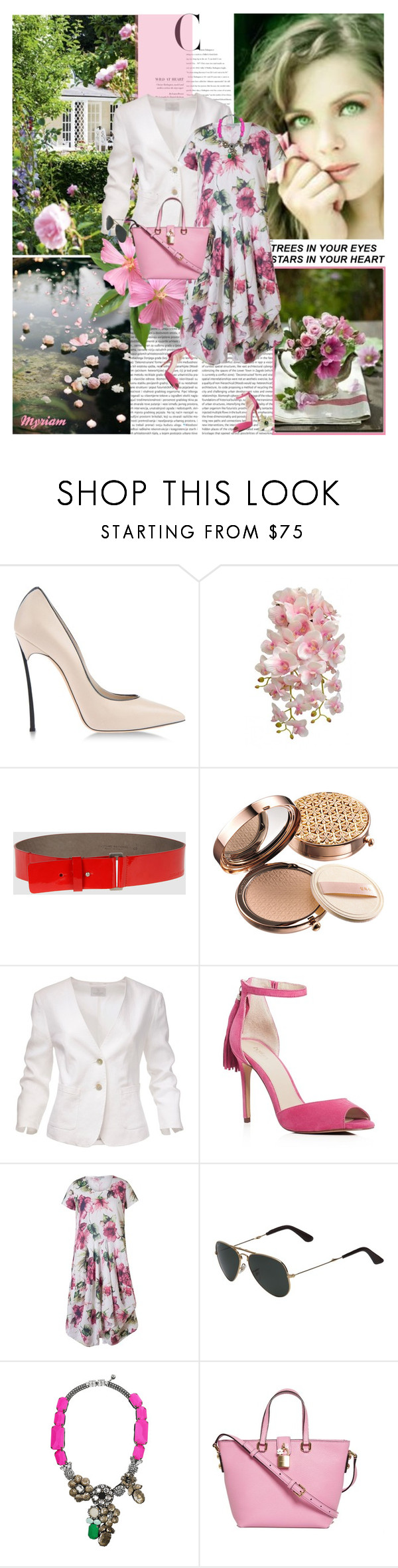 """""""I love the nature"""" by lovemeforthelife-myriam ❤ liked on Polyvore featuring Casadei, COSTUME NATIONAL, Sulwhasoo, Poolhouse, Botkier, Chesca, Ray-Ban, Shourouk and Dolce&Gabbana"""