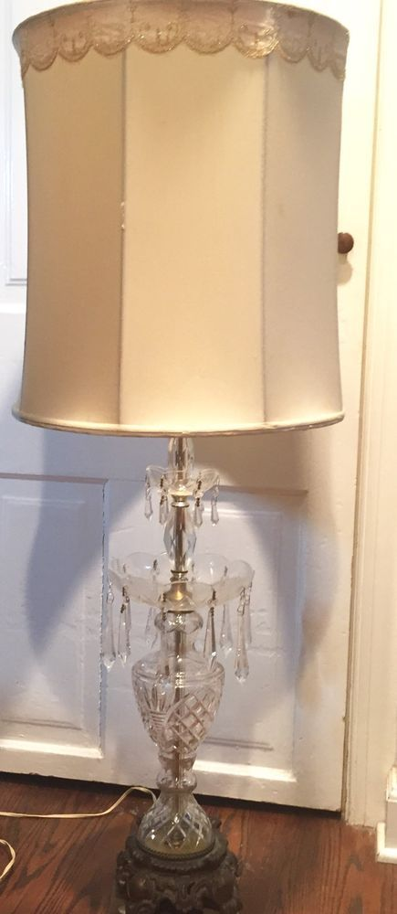 Antique Vintage Crystal Prism Table Lamp With Shade Antiques