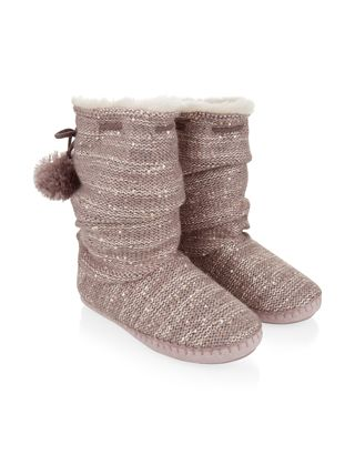 Pearl Sequin Knitted Slough Boot Slippers | Grey | Accessorize ...