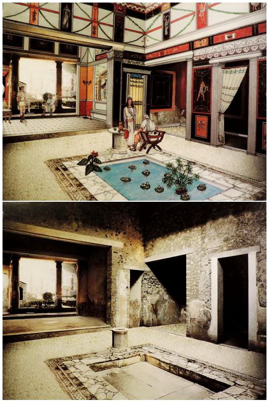 Roman/ Pompeian House, in Roman times and as it appears now, drawing by