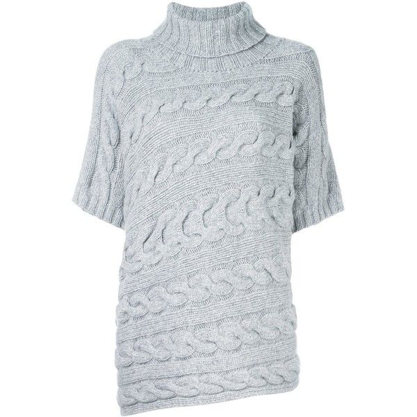 Incentive! Cashmere cable knit jumper (£455) ❤ liked on Polyvore featuring tops, sweaters, grey, cashmere cable knit sweater, grey sweater, grey cable knit sweater, cable knit jumper and gray top