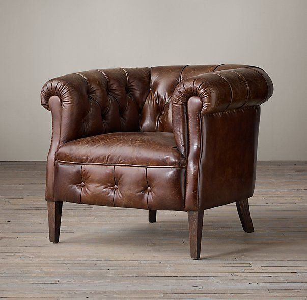 leather tub chair adirondack style chairs living room 1930s english tufted 35 w x d 30 h varying leathers and finishes from 1420