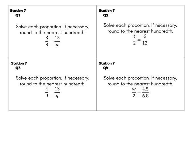 Algebra 1 Solving Equations Unit Review Stations Task Cards