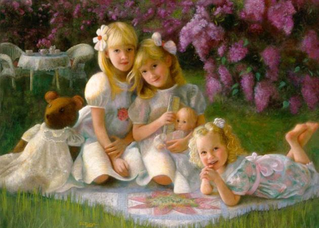 """""""Sisterly Love"""" is a fine example of Romantic Realism painting, with its dreamy, whimsical feelings. I took photos of the girls indoors using a large window for light, then added the lilacs from imagination and other references."""
