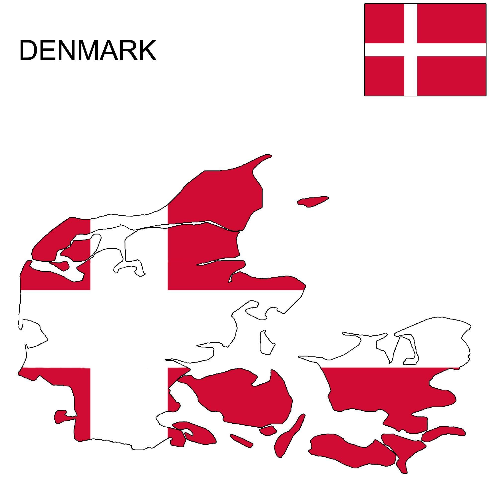 Denmark Flag Map | Flags in 2019 | Denmark, Danish flag, Flag
