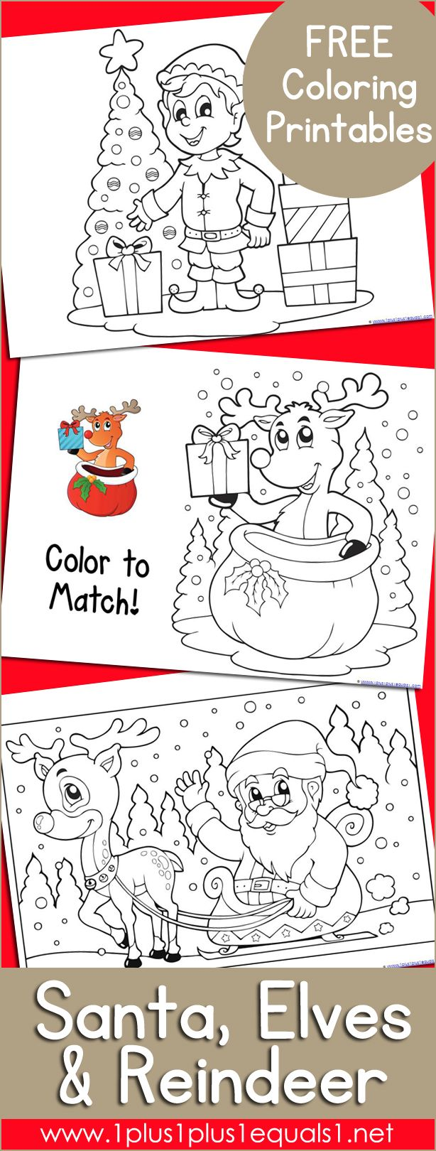 Santa, Elves and Reindeer Coloring | Elves, Santa and Xmas