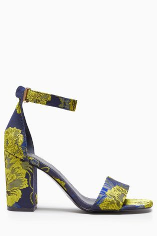 Buy Navy/Yellow Simple Block Heel Sandals from the Next UK online shop