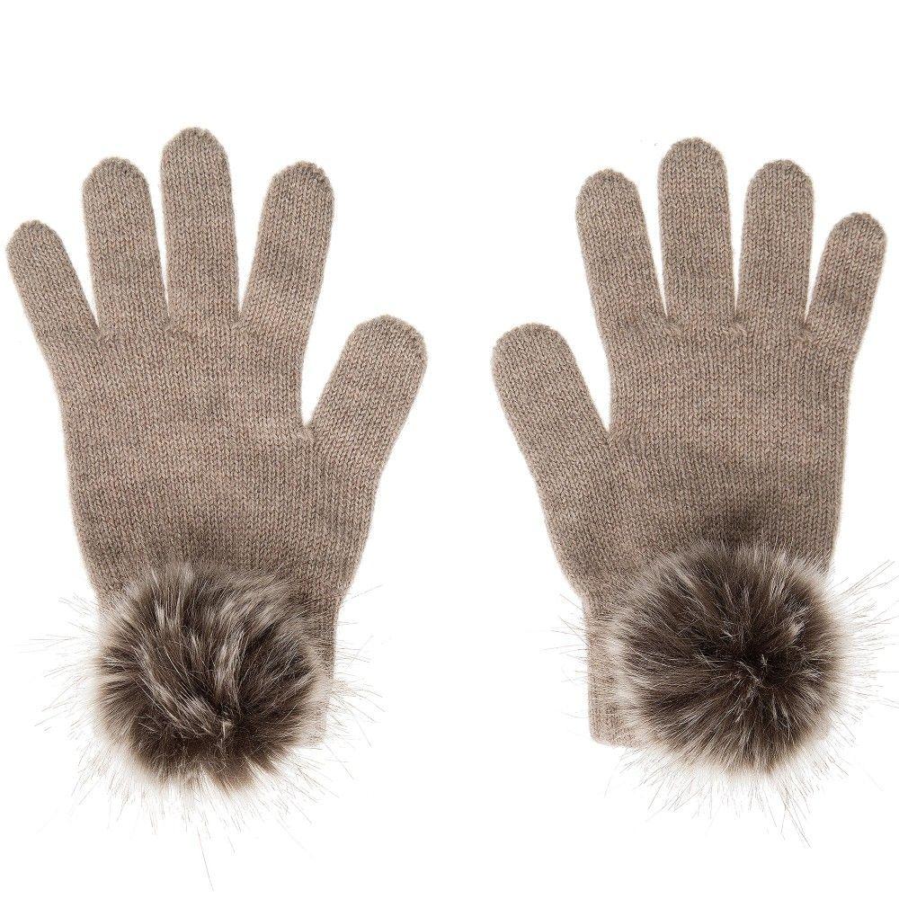 083b275fb6ae helen moore - Beige Cashmere Knitted Pom-Pom Gloves