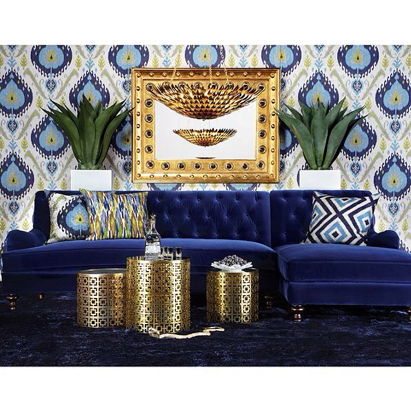 Zgallerie Lucas Sectional Sofa Royal Blue Velvet
