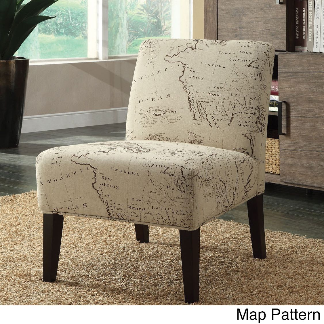 Acme Reece Linen Script Accent Chair (Postal Stamp Pattern, 30 x ...