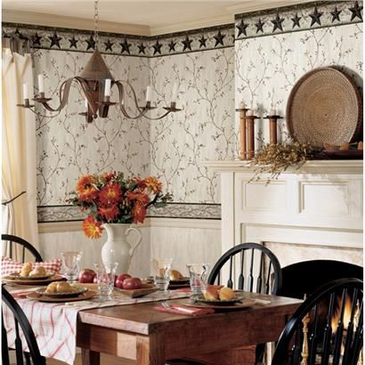 Pur44033 Yellow Stars Berry Vine Wallpaper Pure Country By Chesapeake Kitchen Cabinets Makeover Brewster Home Fashions Country Dining Rooms
