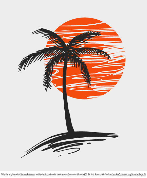 Palm Tree Vector Art : vector, Doodle, Coconut, Drawing,, Vector,, Drawing