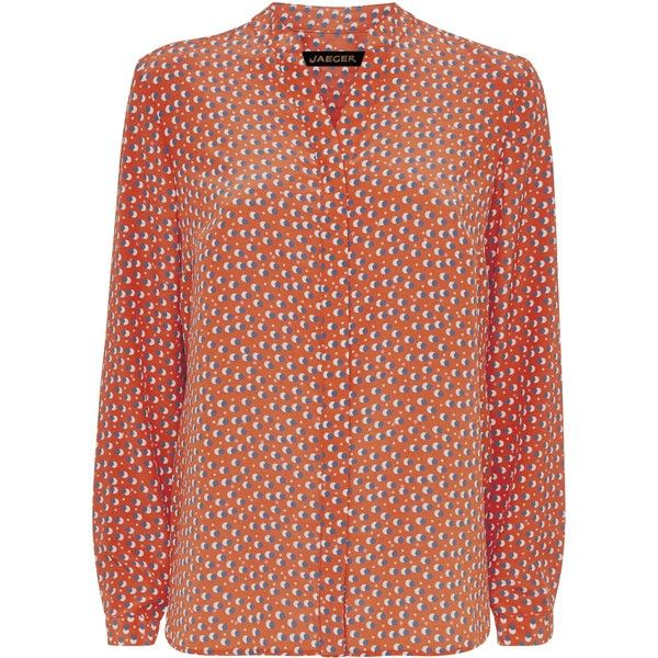 98c303bdc5c752 Jaeger Silk Double Spot Print Blouse ( 150) ❤ liked on Polyvore featuring  tops