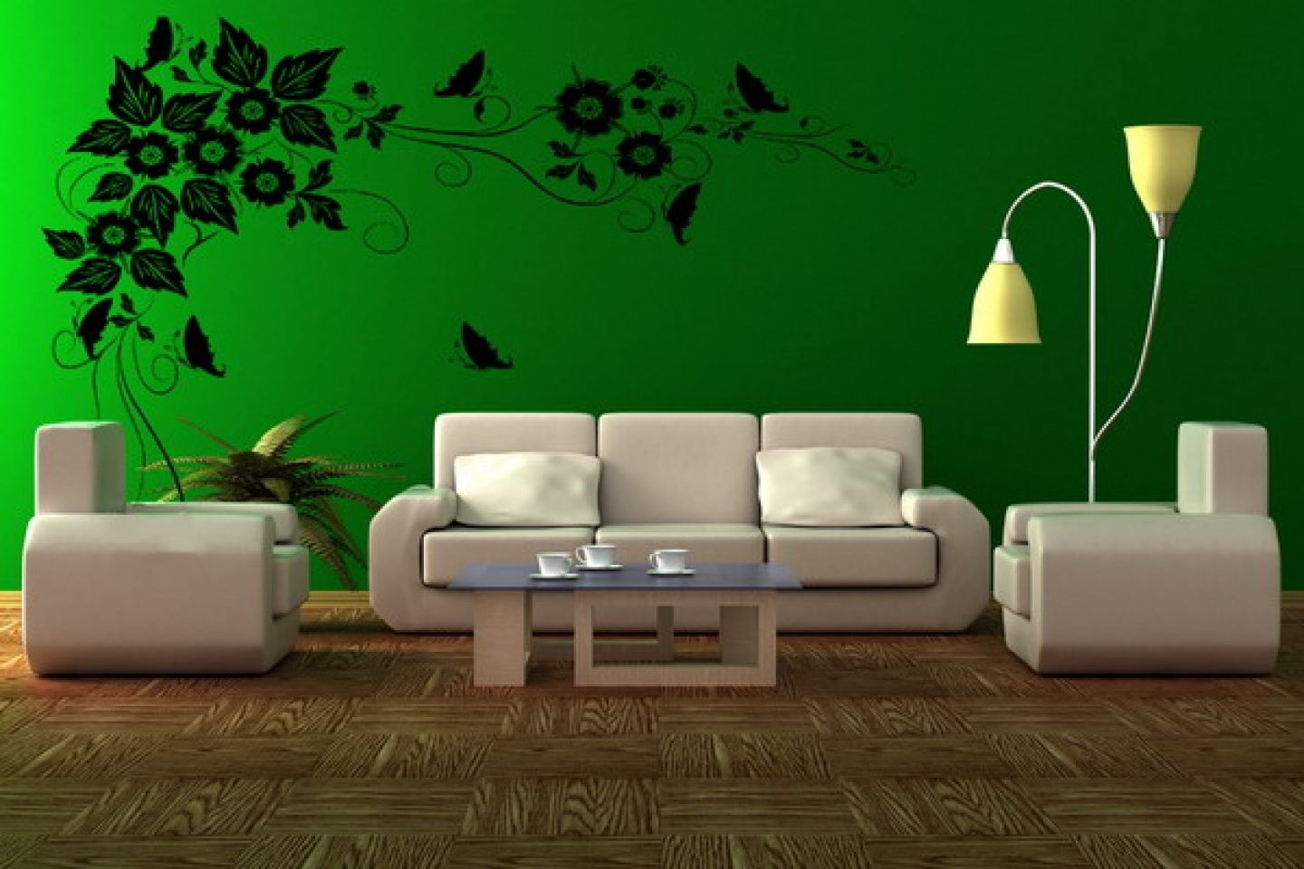 enchanting-green-wall-paint-scheme-living-room-design-ideas-with ...