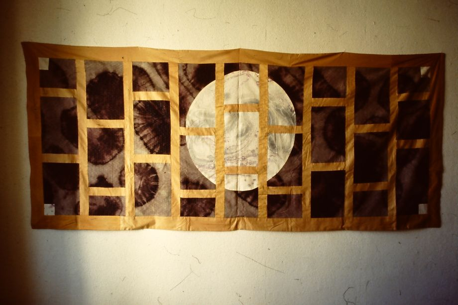 """""""tsuki"""" - """"Moon"""" kesa sôgyari (9 columns), awase. November 2000.  105,5 x 241 cm.  Sewn from a white cotton fabric with a marble pattern and a blue Japanese fabric which I discharged in tie dye technique."""