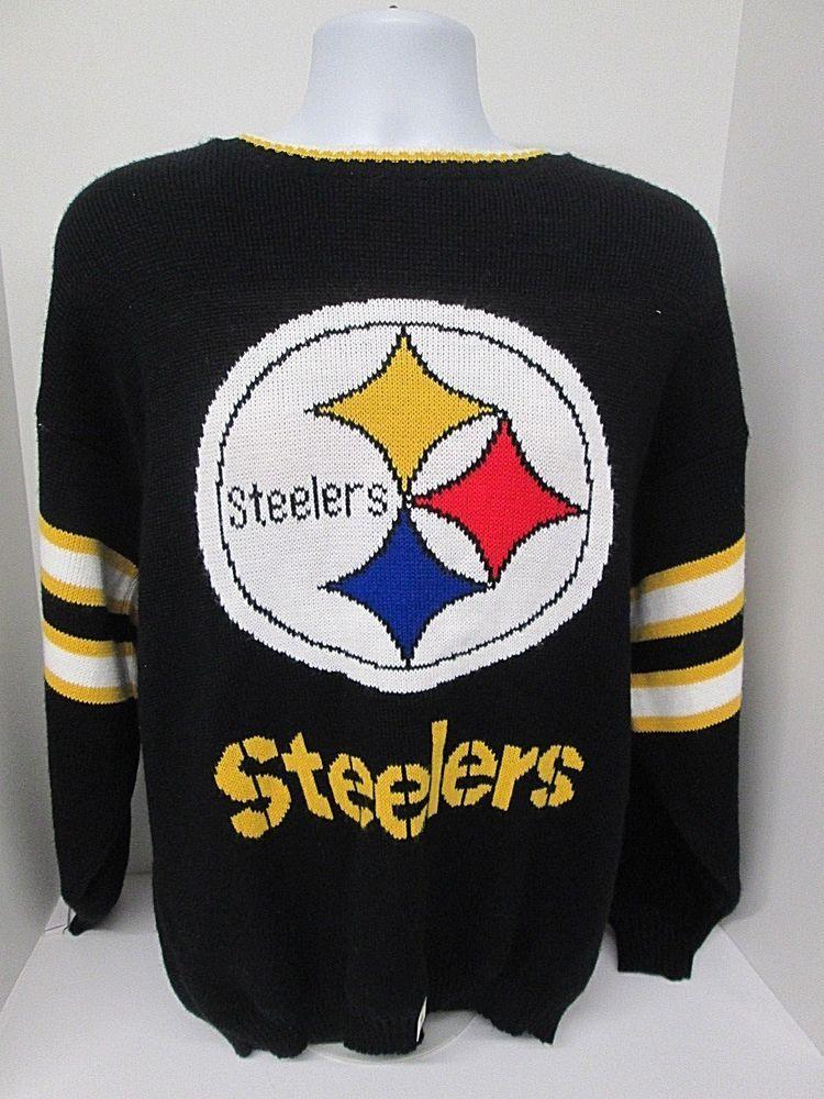 Men s Medium Black Michael Harris Pittsburgh Steelers Vintage Sweater   MichaelHarris  PittsburghSteelers efbce4976