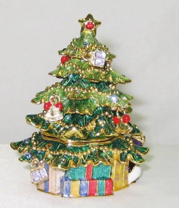 Green Christmas Tree Austrian Crystal Jeweled Hinged Trinket Box Jeweled Trinket Boxes Christmas Tree Ornaments Christmas Tree Decorations