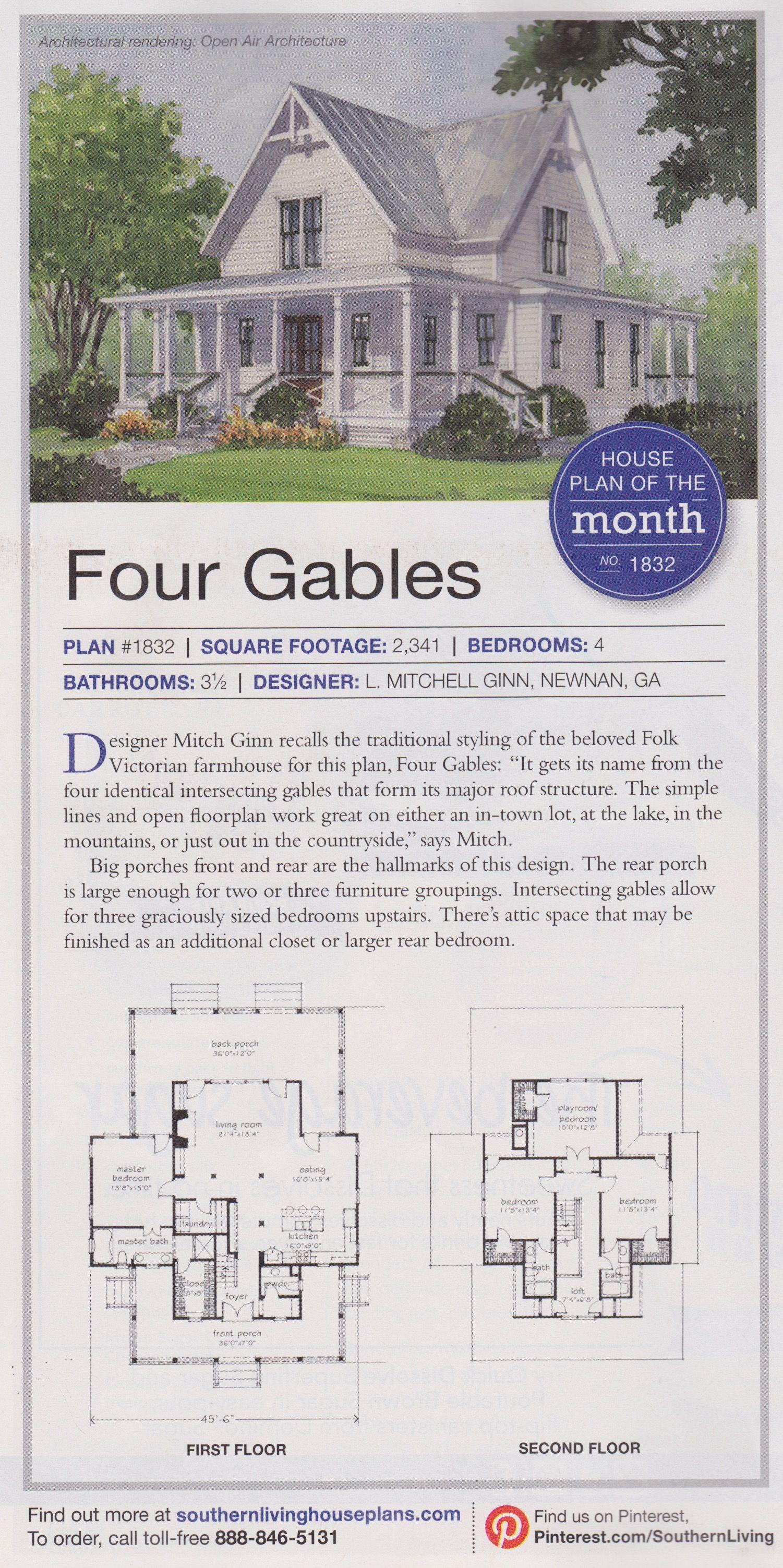 Four Gables House Plan For Mountain Or Sea Gable House House Plans Farmhouse Plans