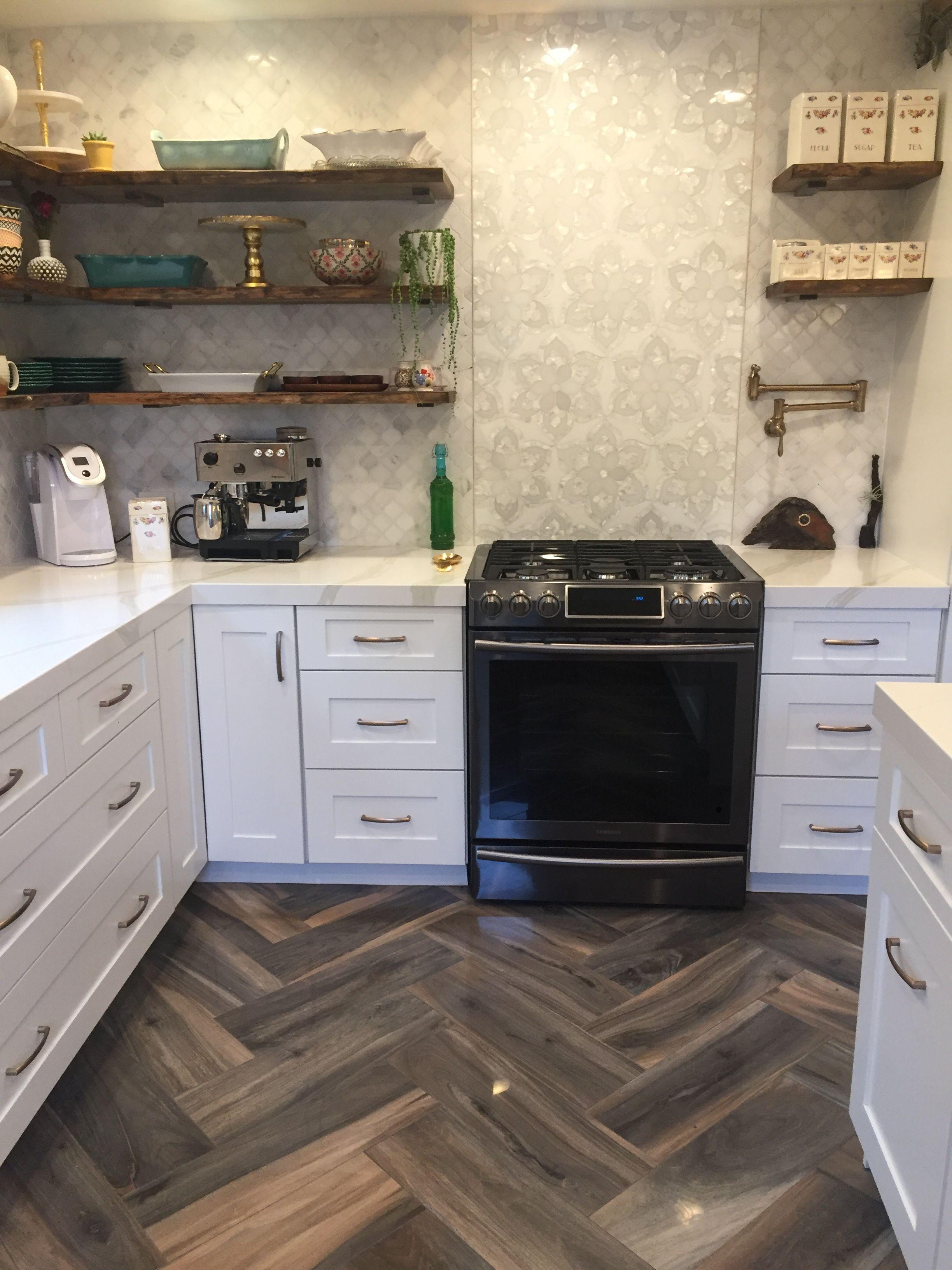 Kitchen Design With Wood Plank Porcelain Tile Flooring Quartz