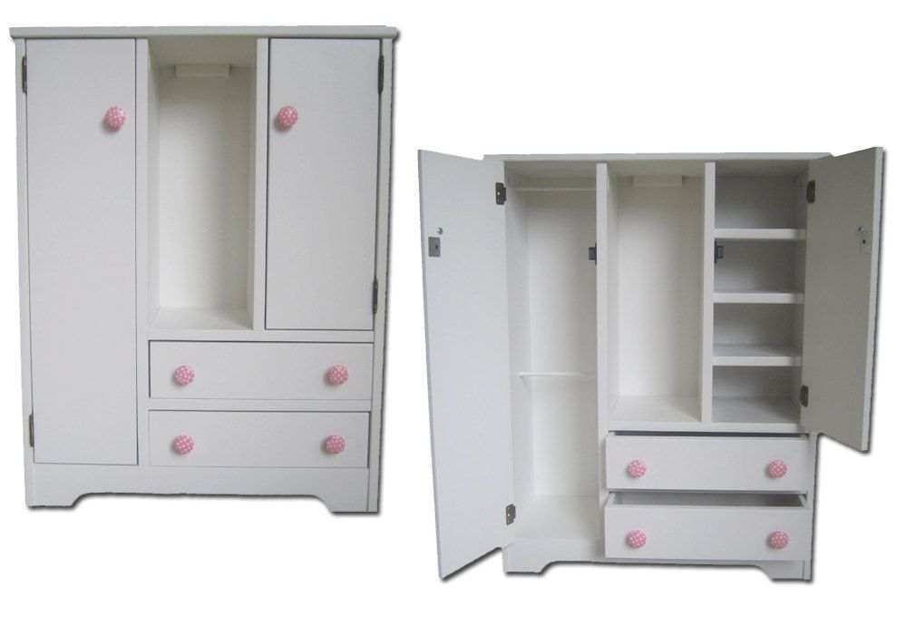 Bon Doll Wardrobe American Made Fits 18 Doll Furniture Storage Closet Girl  Armoire