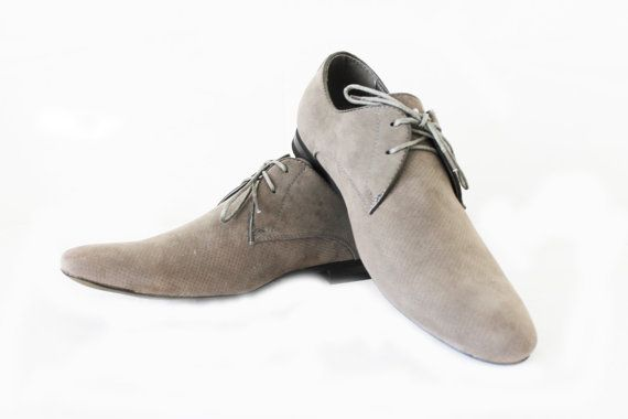 New Mens Dress Shoes Grey Suede Bravo Berto Pointed by azarsuits, $39.99