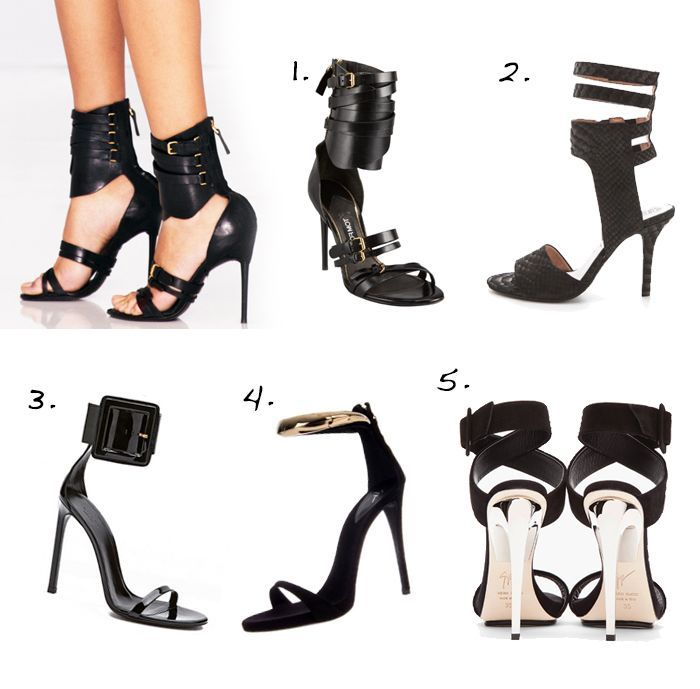 062145f4a06af0 Jeffrey Campbell Skybox High Heel Sandals 3. Gucci Ankle Strap High Heel  with Squared Buckle (also here) 4. Giuseppe Zanotti Ankle Strap Heels 5.