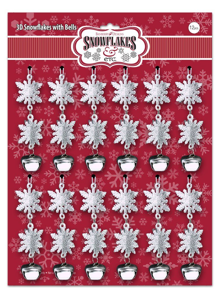 BANBERRY DESIGNS 3D Snowflake Christmas Ornaments Set of 12 Silver
