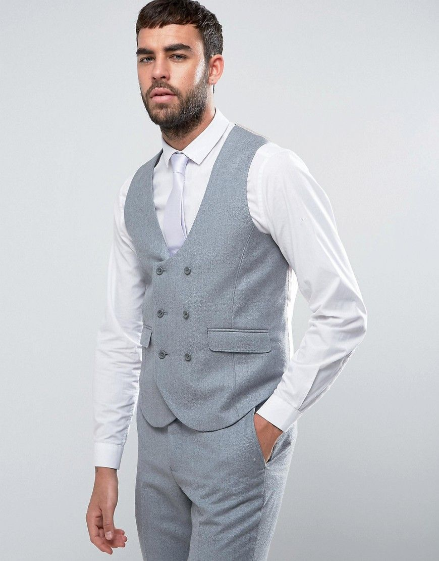 ASOS WEDDING Slim Suit Vest in Light Gray 100% Merino Wool - Gray ...