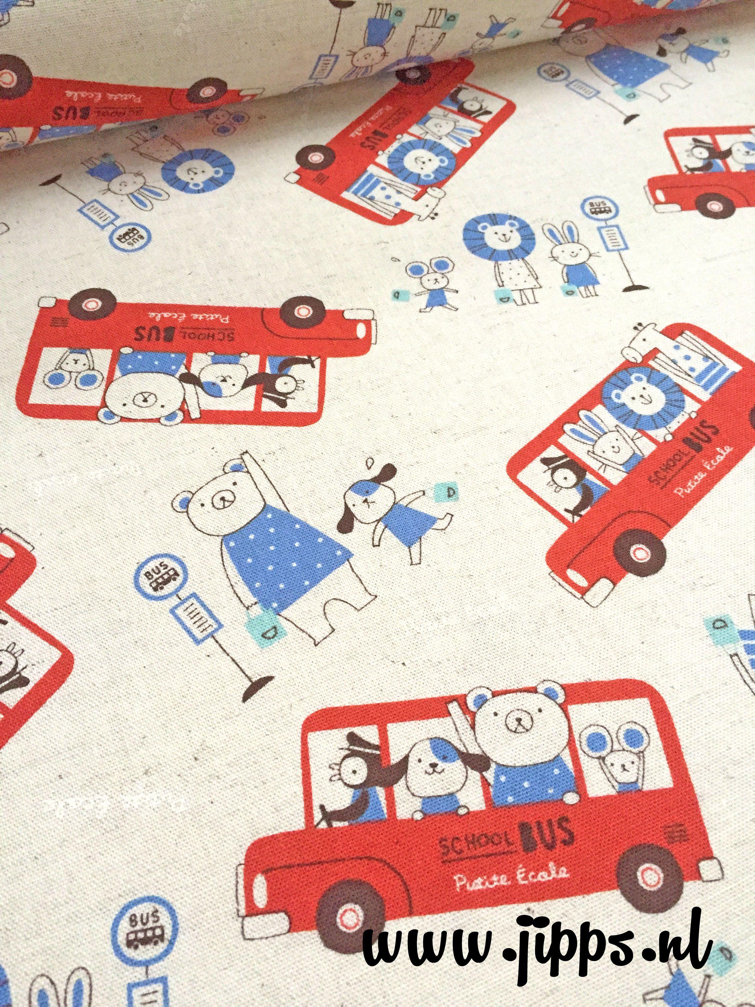 Schoolbus - Kokka-Fabrics,85% katoen/15% linnen canvaskatoen  #kinderstoffen #online_stoffen #online_stoffenwinkel