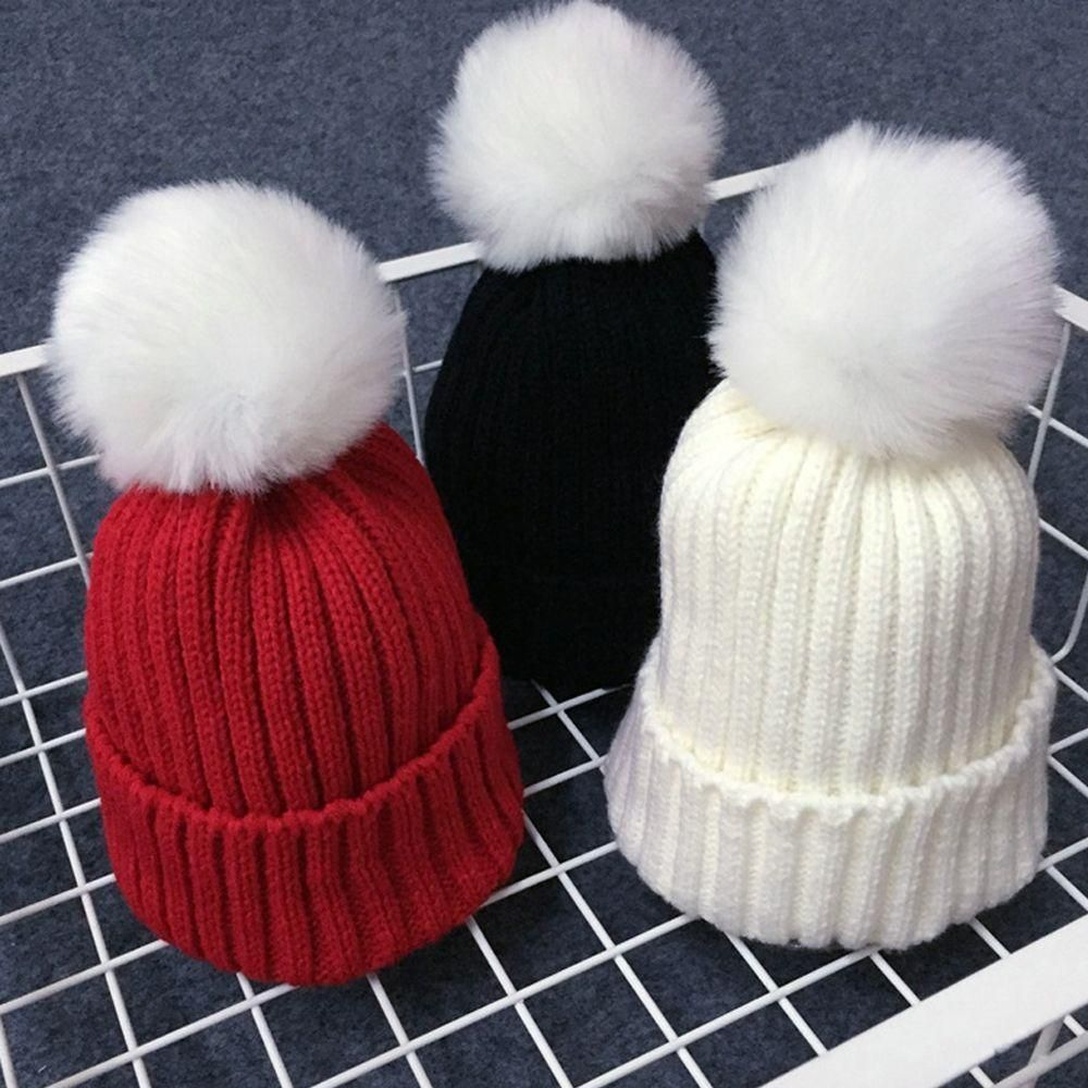 ae035794304 1PC Winter Warmer Crochet Knitting Kids Hat Children Winter Soft Wool Fur Cap  Boys Girl Beanie Pompom Ball Party Adjustable Hat