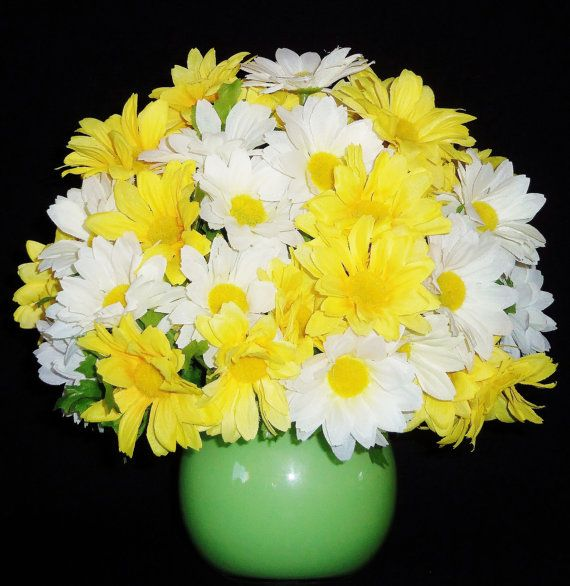 Silk floral arrangement yellow and white daisies lime green vase flowers mightylinksfo Images